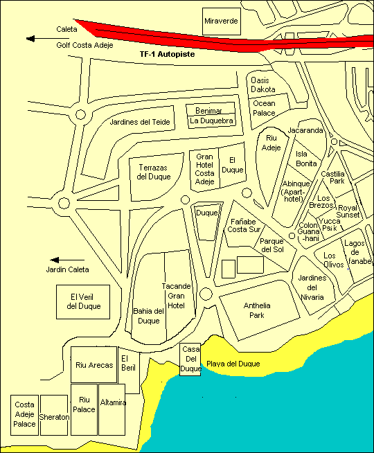 Playa del Duque and Playa Fanabe map and complex names