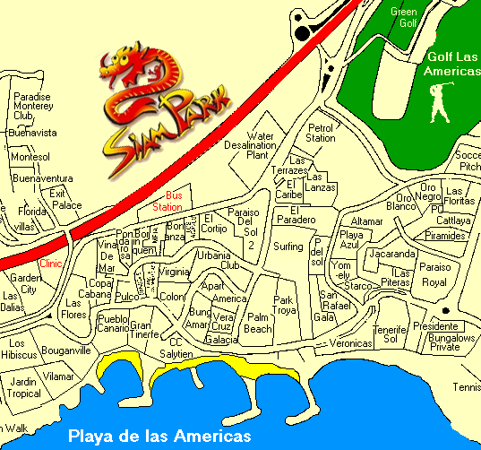 Las Americas Map in Adeje and complex names