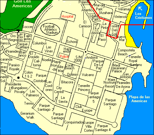 Las Americas Map in Arona and complex names