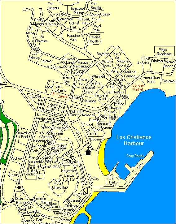 Los Cristianos Map and complex names