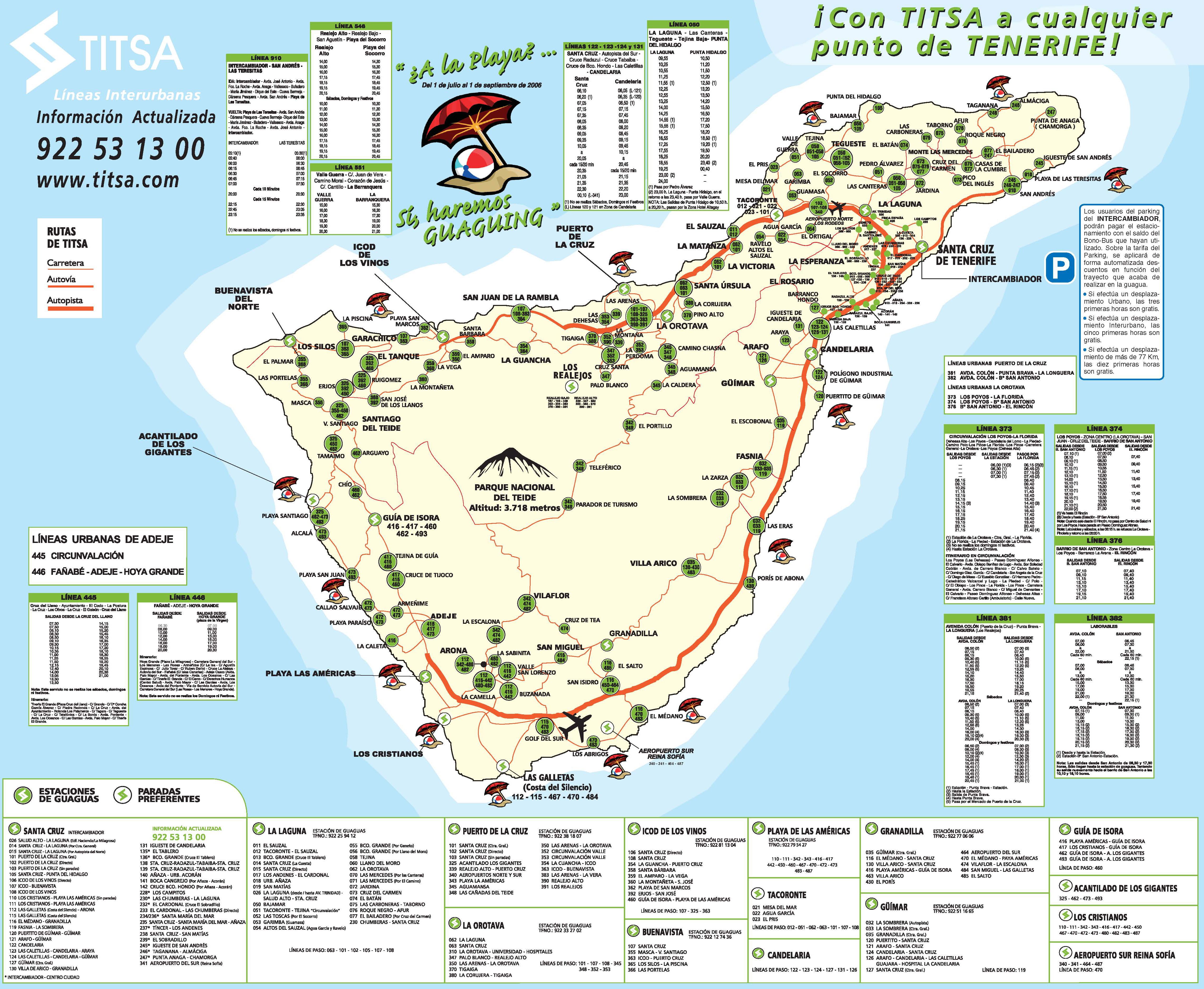 Titsa Bus Lines - Map Tenerife